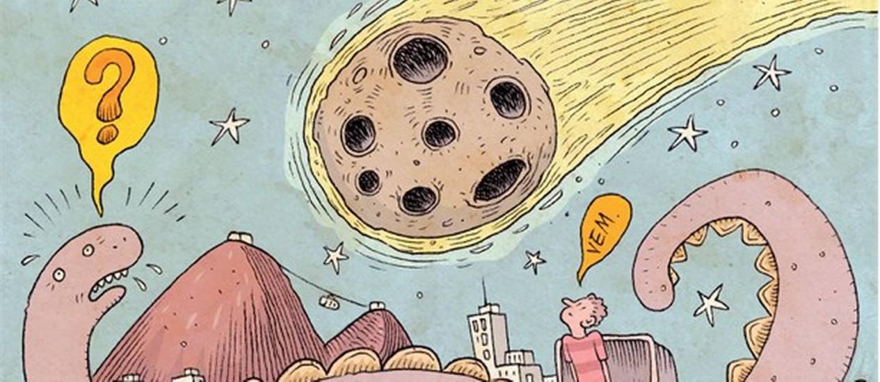 """BOLA DA VEZ. Expressão """"vem, meteoro!"""" é inspirada por crises universais e particulares"""