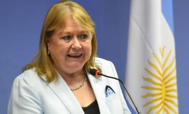 A ministra das Relações Exteriores da Argentina, Susana Malcorra, durante entrevista coletiva em Brasília nesta quinta-feira Foto: EVARISTO SA / AFP