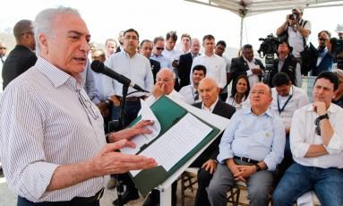 O presidente Michel Temer durante visita a Pernambuco Foto: Beto Barata / Agência O Globo