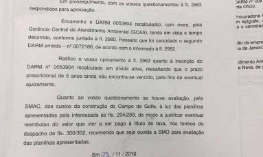 Documento da Prefeitura comprovaria que empresa ignorou avisos para pagamento de taxa Foto: Divulgação/ Prefeitura do Rio
