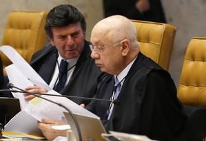 Os inistros Luiz Fux e Teori Zavascki mudaram de tese ao votar pela manutenção de Renan no cargo Foto: Ailton de Freitas / Agência O Globo