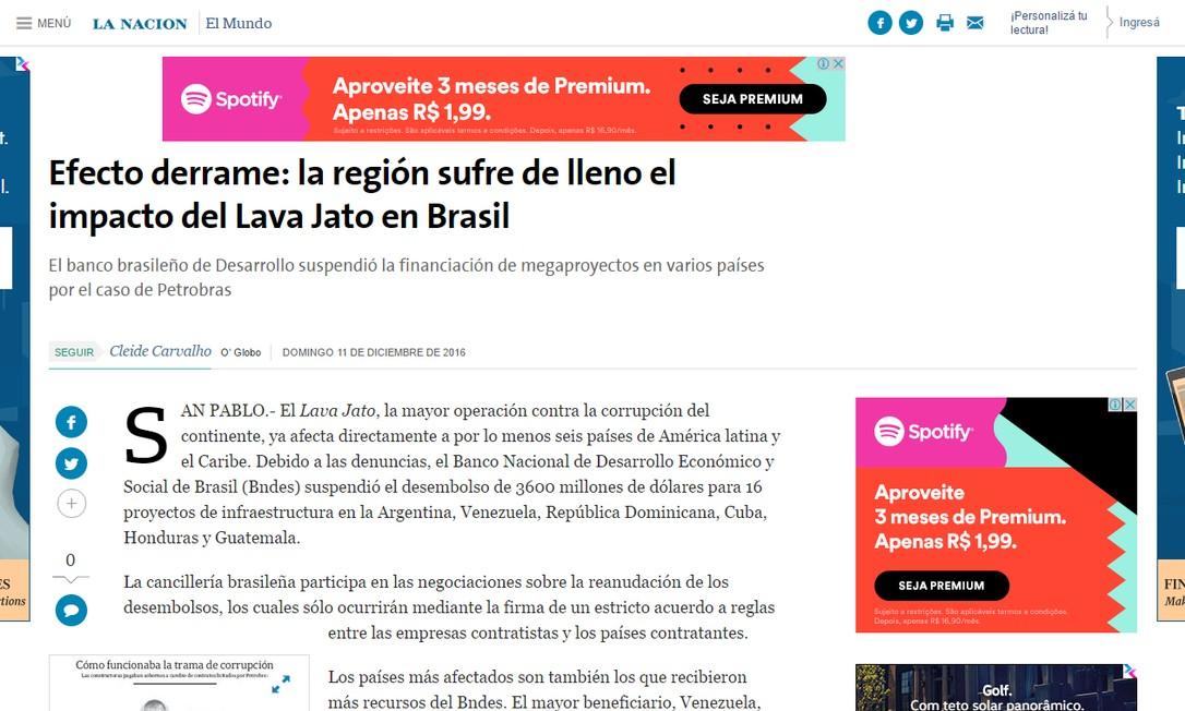 Jornal argentino 'La Nación' Foto: Reprodução