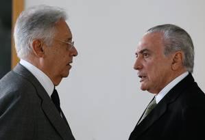 O ex-presidente Fernando Henrique em encontro com o presidente Michel Temer Foto: Beto Barata / Presidência da República