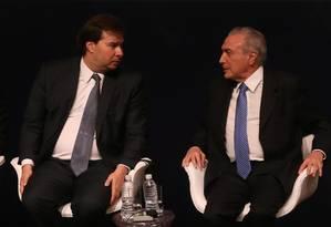 O presidente da Câmara, Rodrigo Maia, e o presidente da República, Michel Temer Foto: Marcos Alves / Agência O Globo / 22-11-2016
