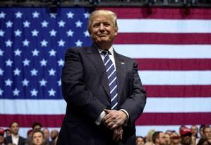 Donald Trump sorri durante comício nos EUA Foto: Andrew Harnik / AP