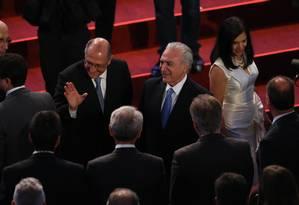Em São Paulo, Temer participa de evento, acompanhado pelo governador de SP, Geraldo Alckmin Foto: Marcos Alves / Agência O Globo