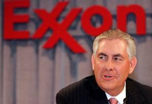 Presidente e CEO Rex Tillerson fala durante entrevista coletiva após reunião de acionistas da Exxon Mobil em Dallas, no Texas, em 28 de maio de 2008 Foto: © Mike Stone / Reuters / REUTERS