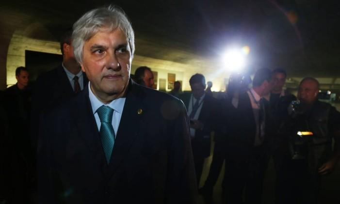 O ex-senador Delcídio Amaral em maio, ao ser cassado pelo plenário do Senado Foto: Ailton de Freitas / Agência O Globo / 9-5-2016