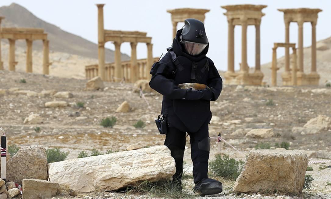 Membro do esquadrão anti-bombas russo procura por minas na antiga cidade de Palmira, na Síria, que seria retomada pelo Estado Islâmico no dia 11 de dezembro. Foto: Uncredited / AP