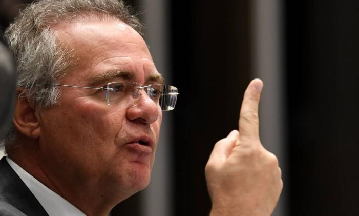 Renan Calheiros durante sessão no Senado Foto: Evaristo Sá / AFP / 13-12-2016