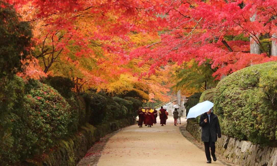Alameda na cidadezinha de Koyasan, região sagrada para os budistas, ao sul de Osaka Foto: Léa Cristina / Agência O Globo