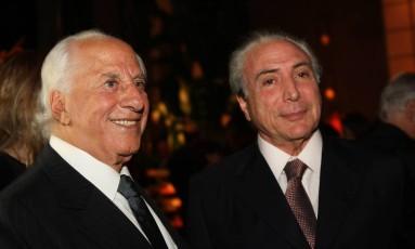 O presidente Michel Temer ao lado de Yunes Foto: Zanone Fraissat/Folhapress