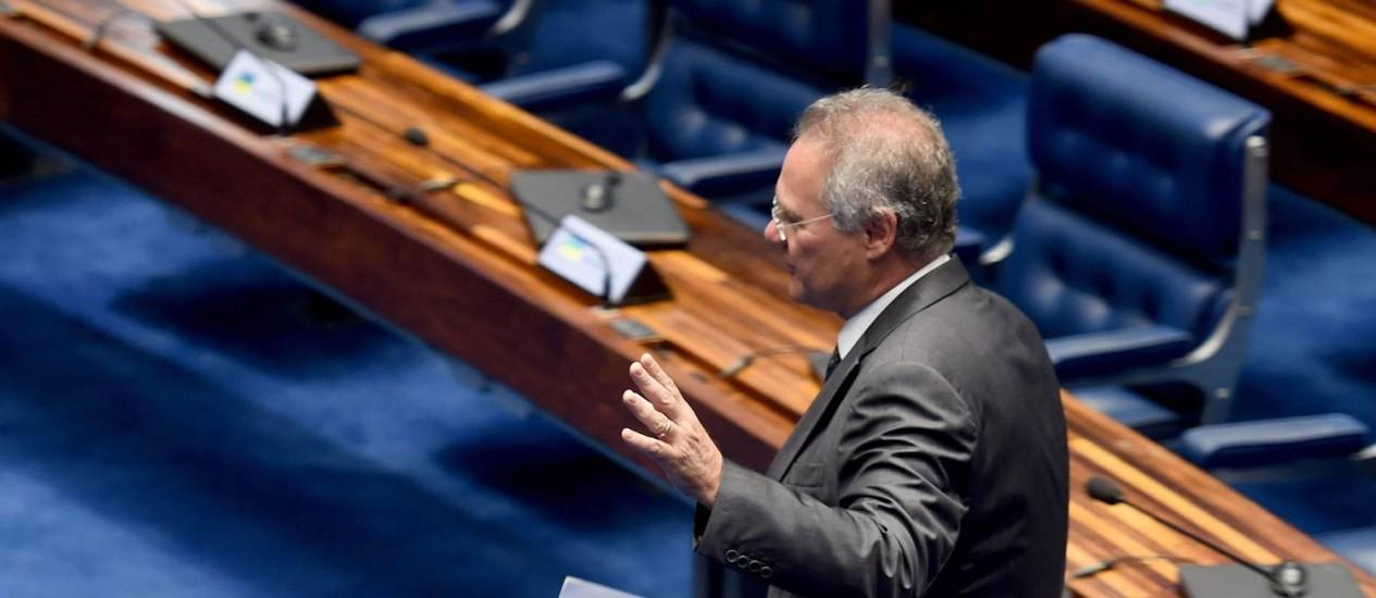 De saída. Peemedebista encerra seu ciclo como presidente do Senado Foto: EVARISTO SA / AFP