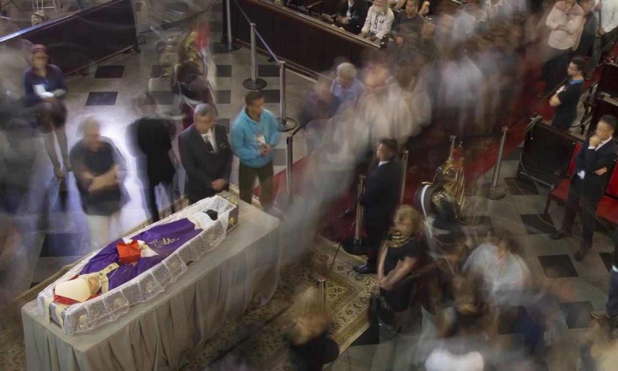 O corpo de Dom Paulo Evaristo Arns, morto aos 95 anos, é velado na Catedral da Sé, em São Paulo Foto: Edilson Dantas / Agência O Globo