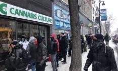 Usuários enfrentam o frio e formam fila para comprar maconha com segurança em loja de Montreal Foto: DIVULGAÇÃO