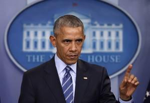 Obama fala durante coletiva na Casa Branca Foto: Pablo Martinez Monsivais / AP