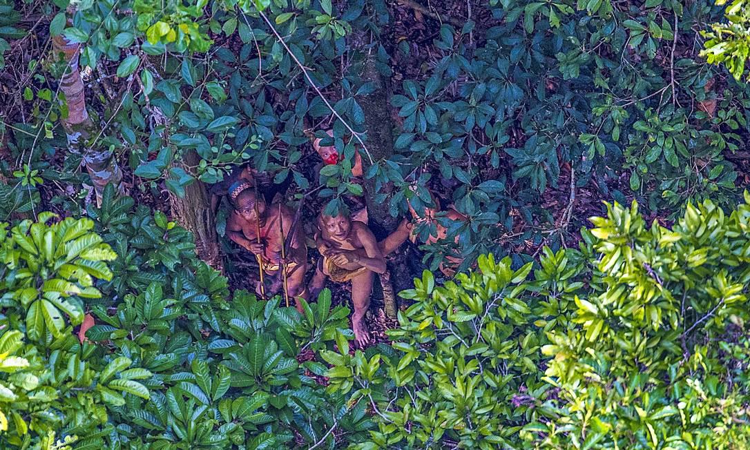 Fotógrafo Ricardo Stuckert flagra tribo de índios que vive isolada na fronteira do Acre RICARDO STUCKERT / Agência O Globo