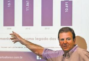 Números. O prefeito Eduardo Paes mostra resultados encontrados pelo estudo feito pela FGV: gastos dentro da LRF Foto: Monica Imbuzeiro