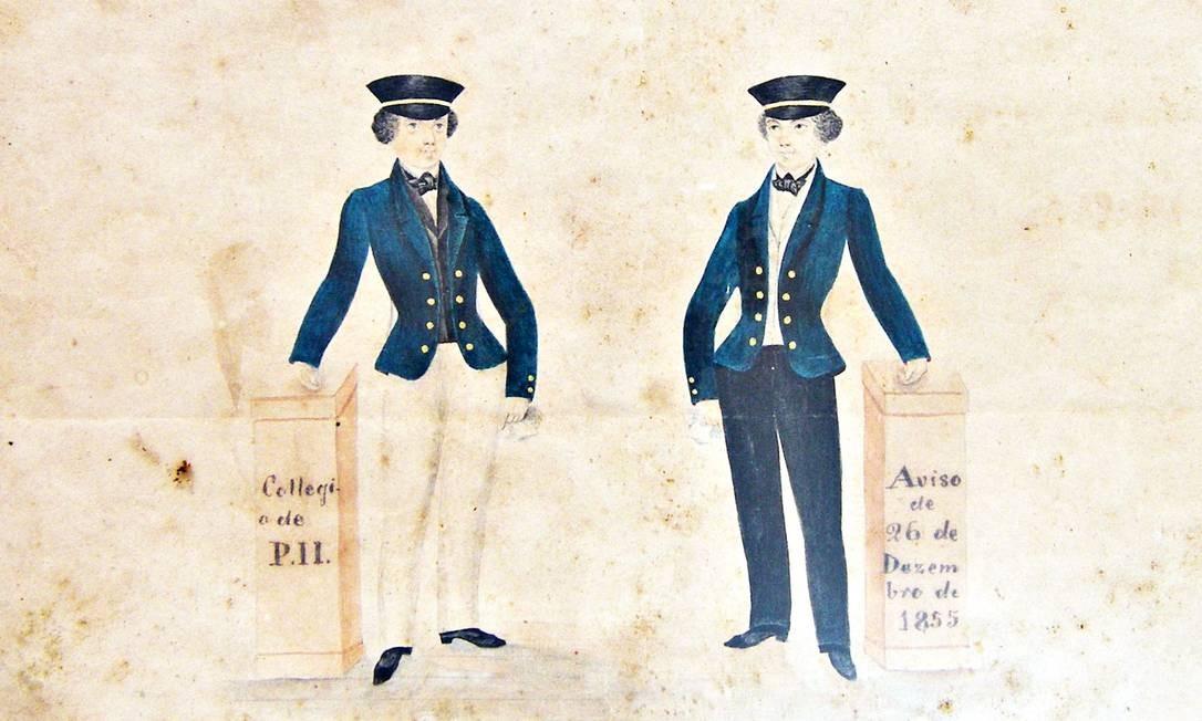 Primeiro uniforme revela inspiração francesa na criação do Imperial Colégio de Pedro II Foto: Divulgação / Acervo do Museu do Colégio Pedro II/Divulgação