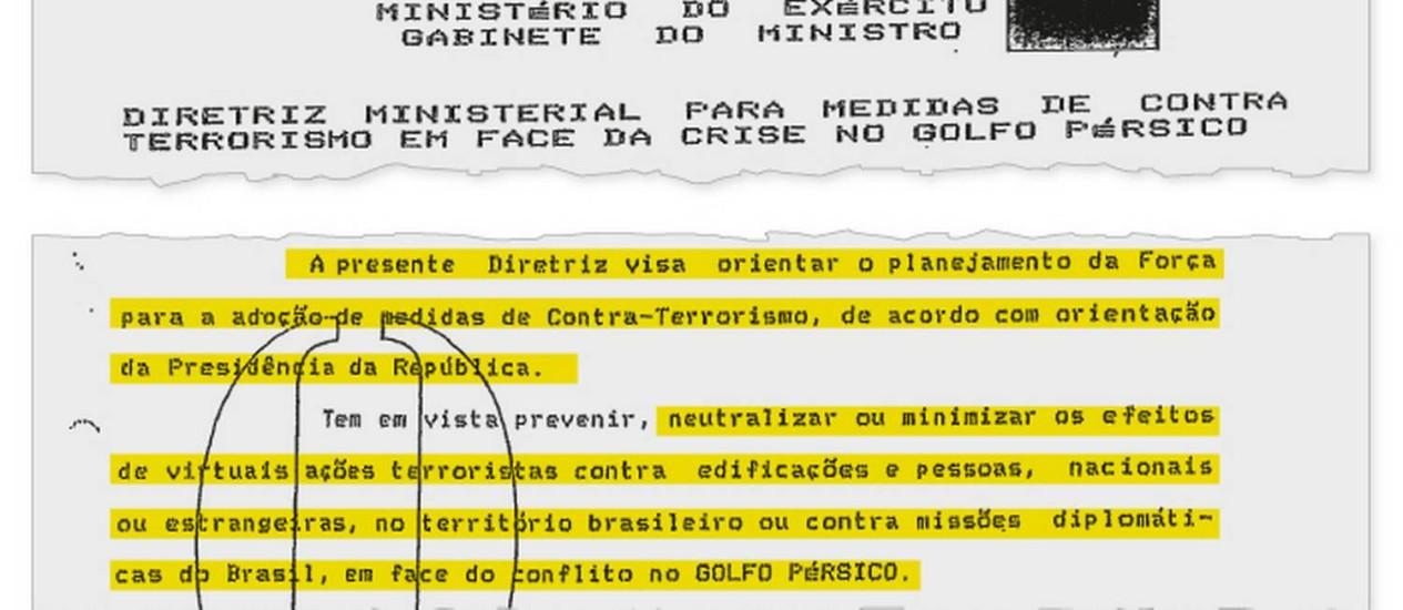 Trecho de documento do Ministério do Exército demonstra preocupação com atentados terroristas Foto: Reprodução