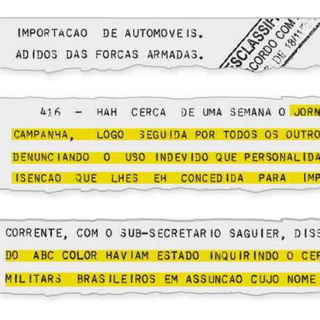 Trecho de relato feito pelo então embaixador em Assunção sobre o caso de revenda ilegal de carros por adidos militares brasileiros Foto: Reprodução