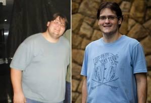 Rodrigo Coelho, de 29 anos, chegou a pesar 146 quilos, e, depois de tentar uma série de dietas, encontrou uma que o ajudou a perder 65 quilos Foto: Fotos de Arquivo pessoal e de Fernando Lemos