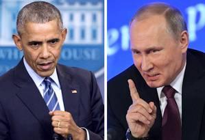 Barack Obama (esquerda) e Vladimir Putin. Tensão com expulsão de diplomatas Foto: AFP