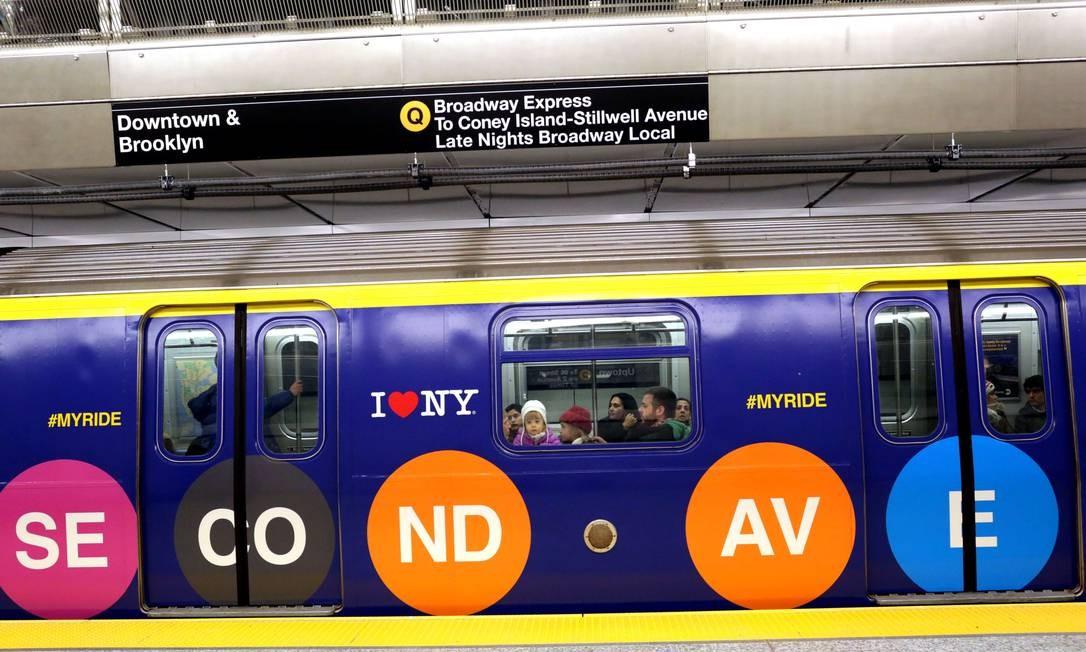 A linha da Segunda Avenida é uma extensão da linha Q, que liga o centro de Manhattan a Coney Island, no Brooklyn Foto: Yana Paskova / AFP