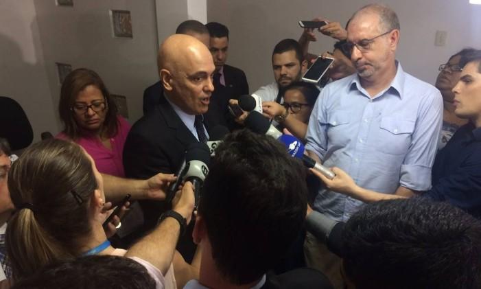 O ministro da Justiça, Alexandre de Morares, durante entrevista em Manaus Foto: Alírio Lucas / Agência O Globo