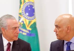 O presidente Michel Temer e o ministro da Justiça, Alexandre de Moraes Foto: REUTERS