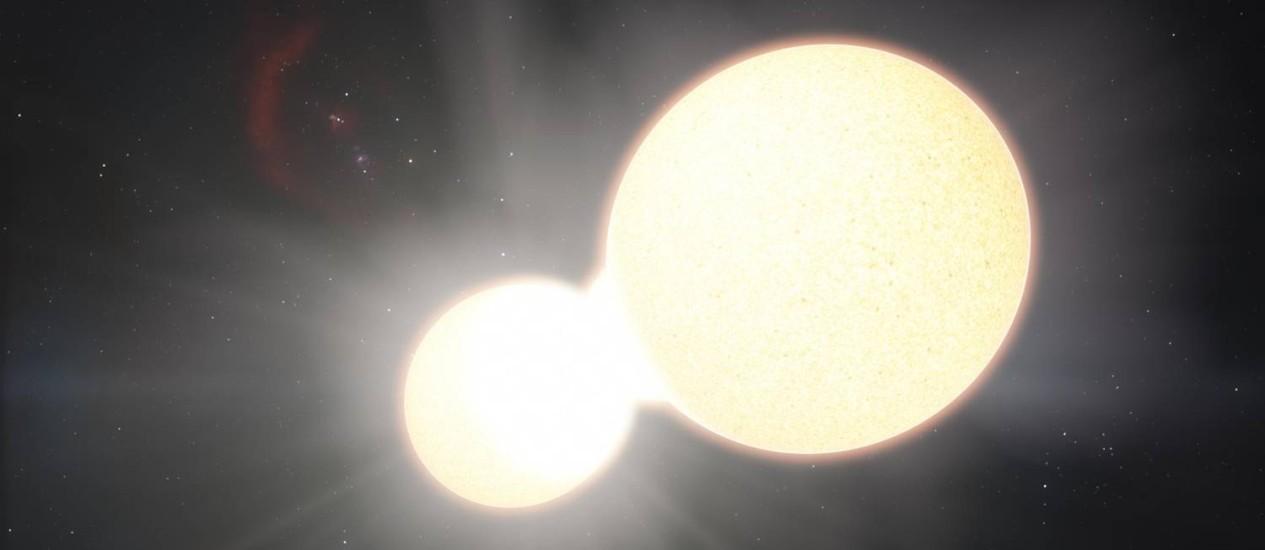 """Ilustração de uma estrela binária de contato: dois astros eventualmente podem se fundir, explodindo em fenômeno conhecido como """"nova vermelha"""" Foto: Reprodução"""