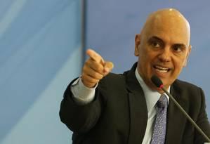 O ministro da Justiça, Alexandre de Moraes, durante apresentação do novo Plano Nacional do Segurança Pública Foto: Ailton de Freitas / Agência O Globo