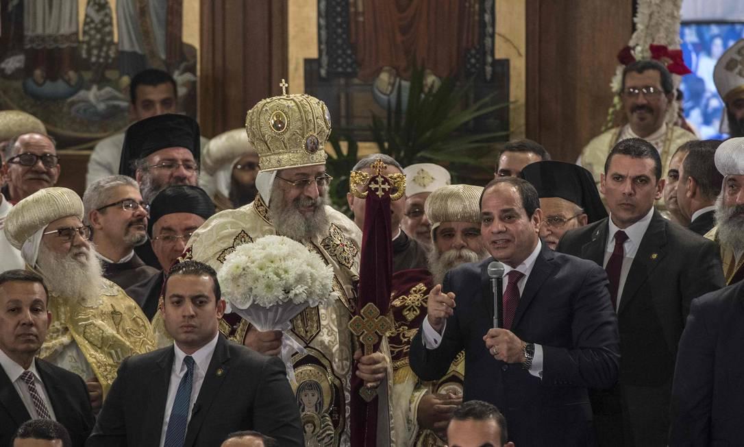 A celebração contou com a presença do presidente do Egito, Abdel Fattah el-Sisi KHALED DESOUKI / AFP