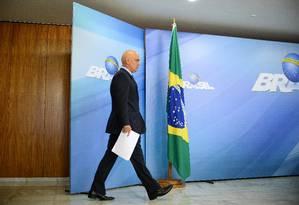 O ministro da Justiça, Alexandre de Moraes, antes de entrevista coletiva Foto: ANDRESSA ANHOLETE / AFP/05-01-2017