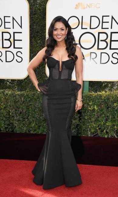 A estrela da TV americana Tracey Edmonds apostou num corset ousado Frazer Harrison / AFP