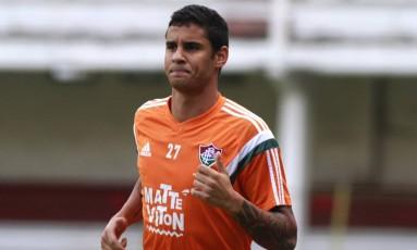 O atacante Michael em treinamento do Fluminense em 2015, nas Laranjeiras: ele jogou o último Brasileiro no América-MG Foto: Nelson Perez / Fluminense F.C.