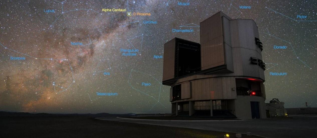 Imagem mostra uma das quatro unidades do conjunto de telescópios VLT tendo ao fundo o céu noturno do Observatório de Paranal, com algumas de suas principais constelações demarcadas e a localização de Alfa Centauri e Proxima Centauri destacadas Foto: Y. Beletsky/ESO
