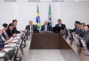 Temer se reúne com o Núcleo de Infraestrutura Palácio do Planalto Foto: Jorge William / Agência O Globo