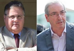 O ex-ministro Geddel Vieira Lima e o deputado cassado Eduardo Cunha Foto: Montagem sobre fotos de aquivo
