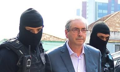Eduardo Cunha preso pela PF em Curitiba Foto: Parceiro / Agência O Globo