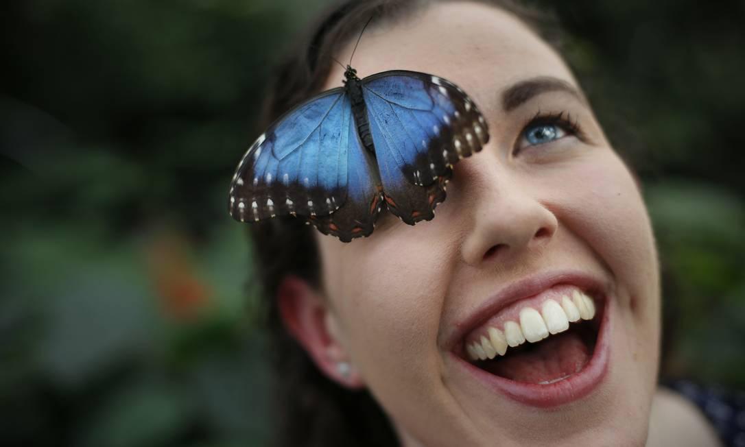 O entomologista Anna Platoni posa com uma borboleta empoleirada em sua testa ADRIAN DENNIS / AFP