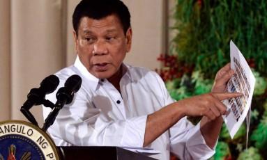 O presidente filipino, Rodrigo Duterte Foto: EZRA ACAYAN / REUTERS