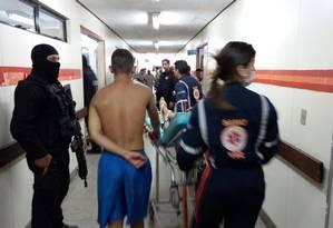 Presos de Alcaçuz chema ao hospital Monsenhor Walfredo Gurgel Foto: HMWG/Divulgação