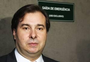 O presidente da Câmara dos Deputados, Rodrigo Maia (DEM-RJ), durante entrevista sobre a sua possivel candidatura a presidência da Câmara Foto: Ailton de Freitas / Agência O Globo/05-01-2017