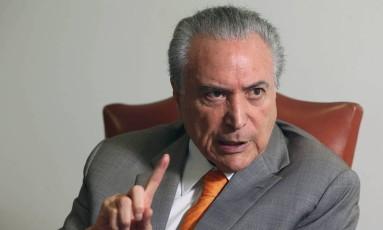 O presidente Michel Temer, durante entrevista no Palácio do Planalto Foto: ADRIANO MACHADO / REUTERS