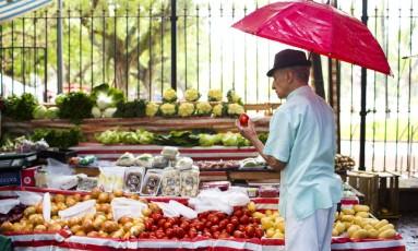 Feira livre em Ipanema, Zona Sul do Rio: cebola, tomate e batata inglesa estão entre os itens que tiveram deflação inferior à alta registrada no ano anterior Foto: Monica Imbuzeiro