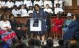 Bernice King, filha de Martin Luther King Jr., fala em cerimônia de homenagem a seu pai em Atlanta Foto: Branden Camp / AP