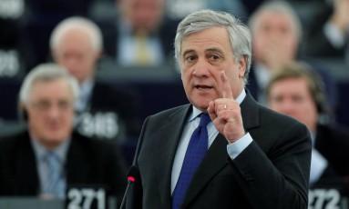 Antonio Tajani participa da apresentação dos candidatos à eleição para o cargo de presidente do Parlamento Europeu em Estrasburgo, França Foto: CHRISTIAN HARTMANN / REUTERS