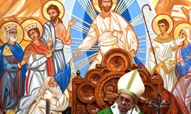 Papa Francisco celebra missa em Setteville, nos arredores de Roma Foto: VINCENZO PINTO / AFP