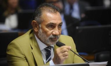 O senador Telmário Mota (PDT-RR), durante pronunciamento na CPI da CBF Foto: Marcos Oliveira/Agência Senado/23-11-2016